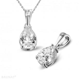 2.50 carat platinum solitaire pendant with pear shaped diamond
