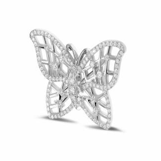 Platinum - 0.90 carat diamond design butterfly brooch in platinum