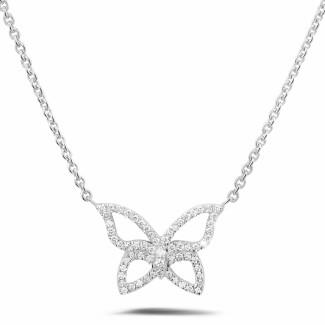 Platinum Diamond Necklaces - 0.30 carat diamond design butterfly necklace in platinum