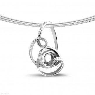 Platinum Diamond Necklaces - 0.80 carat diamond design pendant in platinum