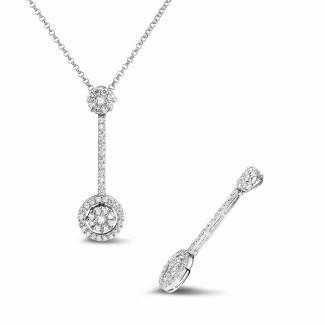 Necklaces - 0.90 carat diamond halo pendant in white gold