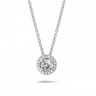 Platinum Diamond Necklaces - 0.50 carat diamond halo necklace in platinum