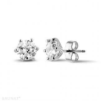 Earrings - 2.00 carat classic diamond earrings in platinum with six prongs