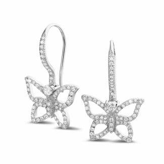 Platinum Diamond Earrings - 0.70 carat diamond butterfly designed earrings in platinum
