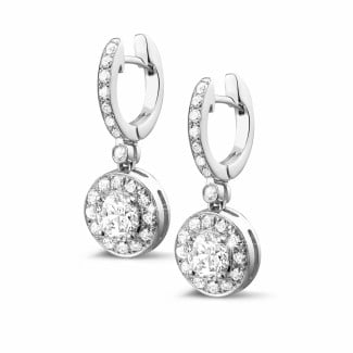 Brilliant earrings - 1.55 carat diamond halo earrings in white gold