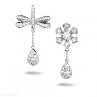 Platinum Diamond Earrings - 0.95 carat diamond flower & dragonfly earrings in platinum
