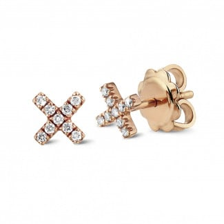 Originality - XX earrings in red gold with small round diamonds