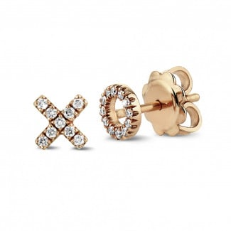 Originality - XO earrings in red gold with small round diamonds