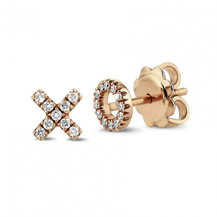 XO earrings in red gold with small round diamonds
