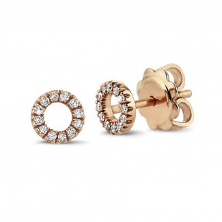 Originality - OO earrings in red gold with small round diamonds