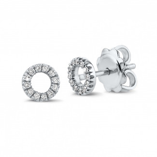 Originality - OO earrings in platinum with small round diamonds