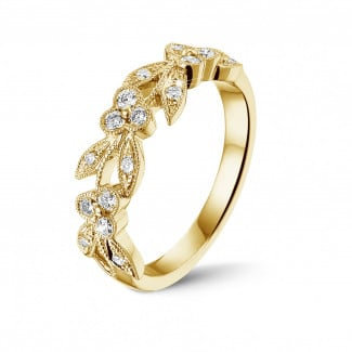 Yellow gold diamond wedding bands - 0.32 carat floral eternity ring in yellow gold with small round diamonds