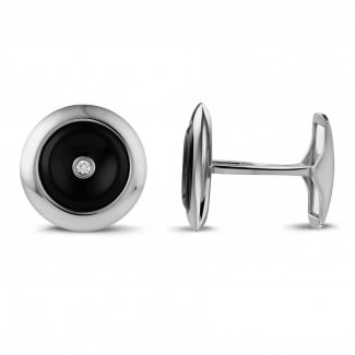 White Gold Cufflinks - White golden cufflinks with onyx and a central diamond