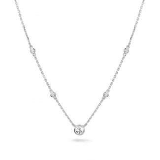 Necklace for women - 0.45 carat diamond satellite necklace in white gold