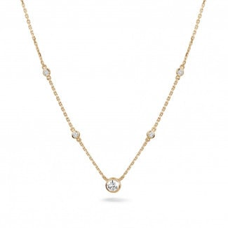 Red Gold Diamond Necklaces - 0.45 carat diamond satellite necklace in red gold