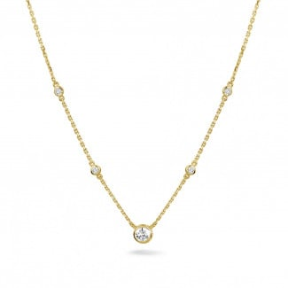 Diamond Necklaces - 0.45 carat diamond satellite necklace in yellow gold