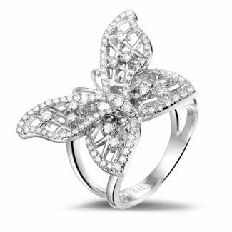 Platinum - 0.75 carat diamond butterfly design ring in platinum