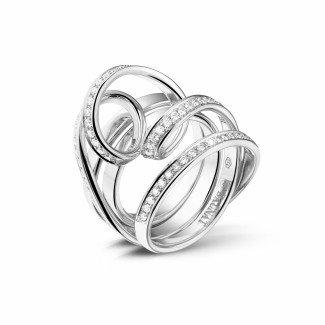 Artistic - 0.77 carat diamond design ring in platinum