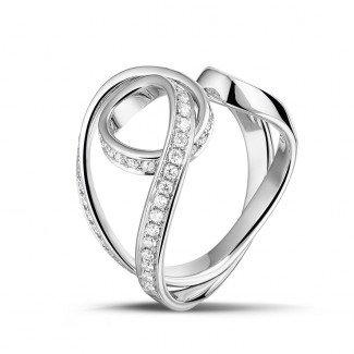 Platinum - 0.55 carat diamond design ring in platinum