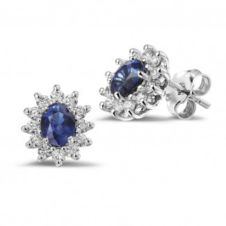Sapphire earrings - Entourage earrings in white gold with oval sapphire and round diamonds