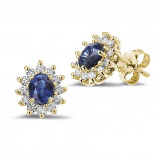 Earrings - Entourage earrings in yellow gold with oval sapphire and round diamonds