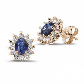 Earrings - Entourage earrings in red gold with oval sapphire and round diamonds