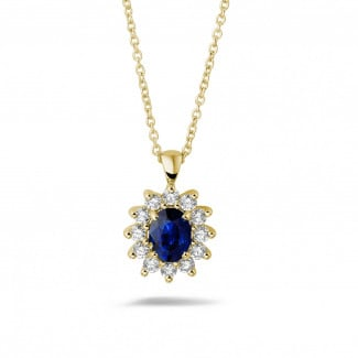 Necklaces - Entourage pendant in yellow gold with oval sapphire and round diamonds