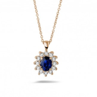 Necklaces - Entourage pendant in red gold with oval sapphire and round diamonds