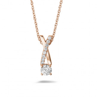 Red Gold Diamond Necklaces - 0.50 carat diamonds cross pendant in red gold