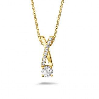 Yellow Gold Diamond Necklaces - 0.50 carat diamonds cross pendant in yellow gold