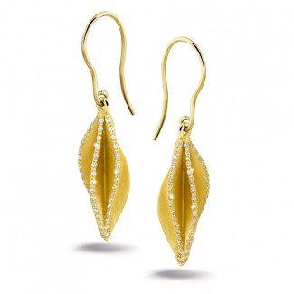 Yellow Gold Diamond Earrings - 2.26 carat diamond design earrings in yellow gold