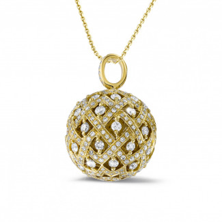 Yellow Gold Diamond Necklaces - 2.00 carat diamond pendant in yellow gold