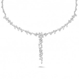 Diamond Necklaces - 5.85 carat necklace in white gold with round and marquise diamonds