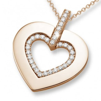 Red Gold Diamond Necklaces - 0.36 carat heart shaped red golden pendant with small round diamonds