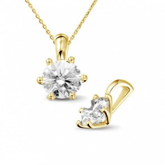 - 1.50 carat yellow golden solitaire pendant with round diamond