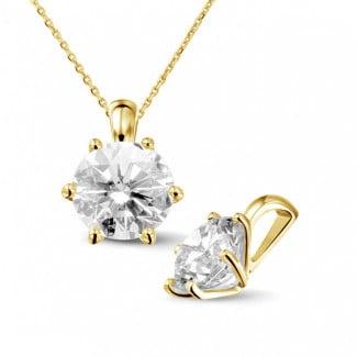 2.50 carat yellow golden solitaire pendant with round diamond