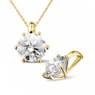 3.00 carat yellow golden solitaire pendant with round diamond