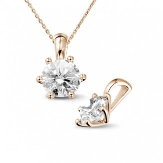 1.50 carat red golden solitaire pendant with round diamond