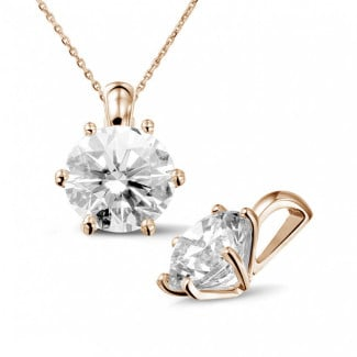 3.00 carat red golden solitaire pendant with round diamond