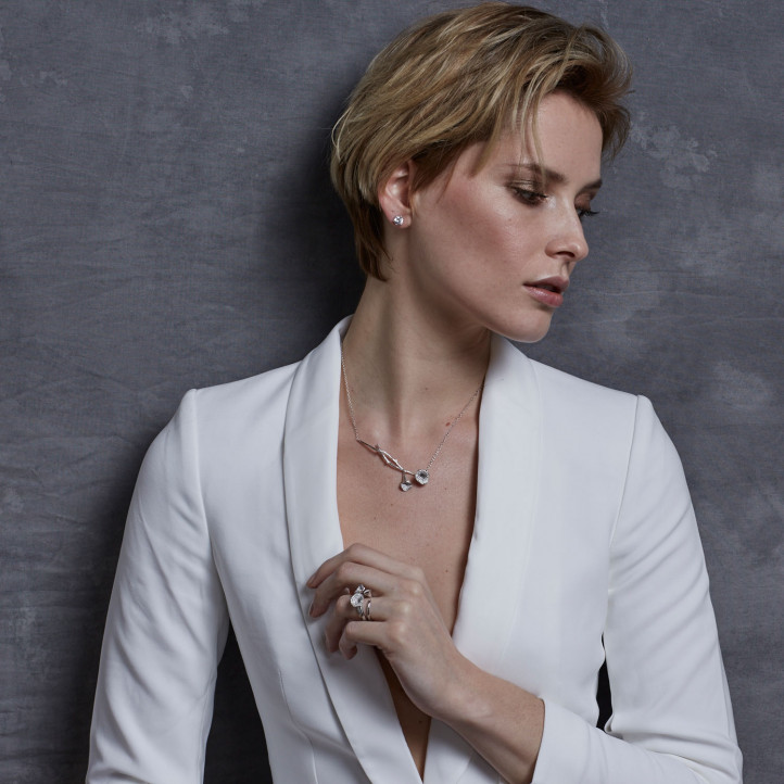 0.73 carat diamond design necklace in white gold