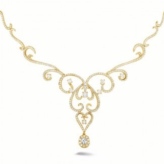Yellow Gold Diamond Necklaces - 3.65 carat diamond necklace in yellow gold