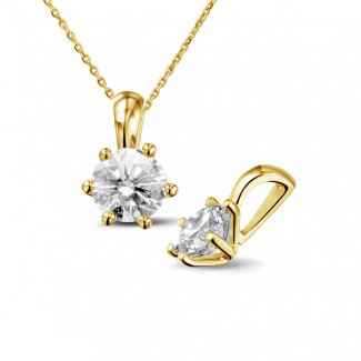 Necklaces - 0.90 carat yellow golden solitaire pendant with round diamond