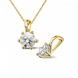 Yellow Gold Diamond Necklaces - 1.00 carat yellow golden solitaire pendant with round diamond