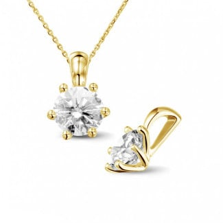 1.25 carat yellow golden solitaire pendant with round diamond