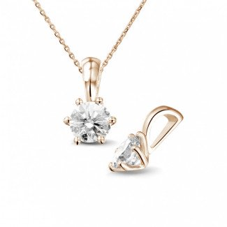 0.75 carat red golden solitaire pendant with round diamond