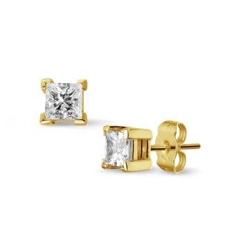 1.00 carat diamond princess earrings in yellow gold