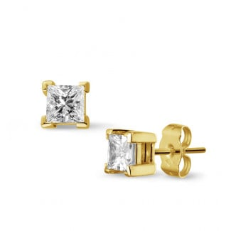 Earrings - 1.00 carat diamond princess earrings in yellow gold