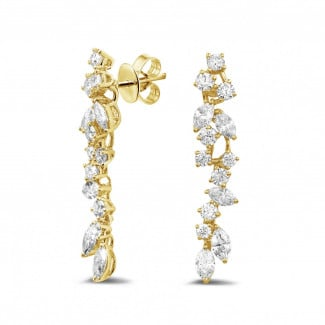 2.70 carat earrings in yellow gold with round and marquise diamonds