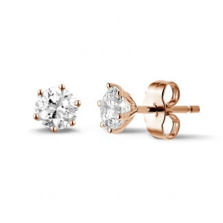 Earrings - 1.00 carat classic diamond earrings in red gold with six prongs