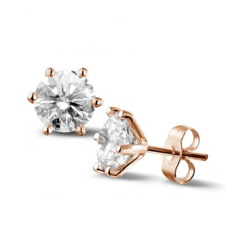 3.00 carat classic diamond earrings in red gold with six prongs